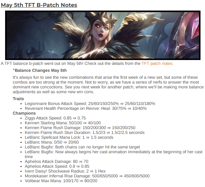 May 5th TFT B-Patch Notes