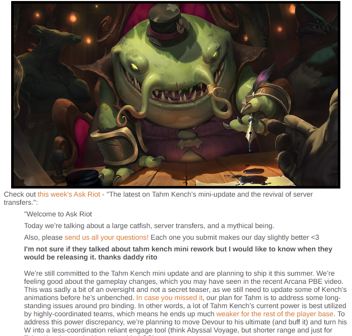 Ask Riot: Unbench the Kench