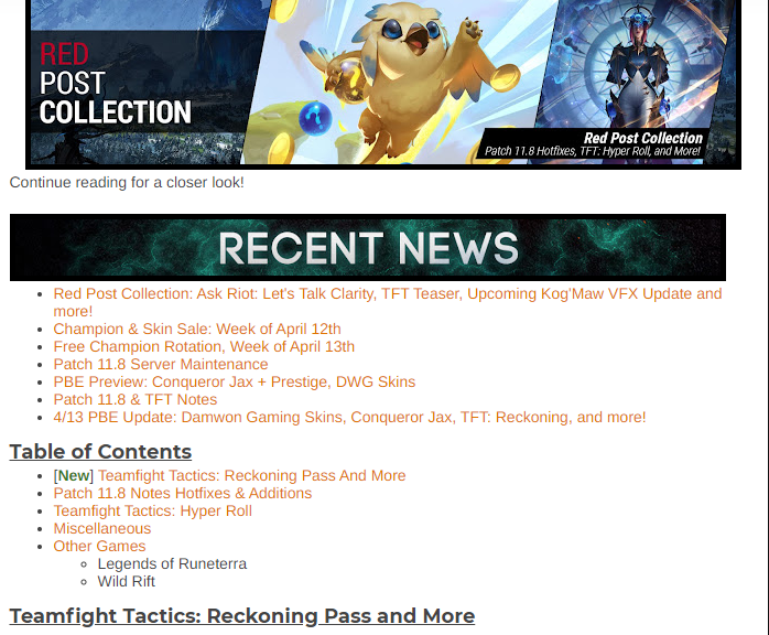 RED POST COLLECTION: PATCH 11.8 HOTFIXES, TFT: HYPER ROLL, AND MORE!