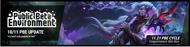 The PBE has been updated! As we continue the 11.21 PBE cycle, today's patch includes skin bios for the Dragonmancer skins!